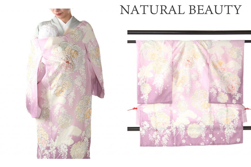 【NATURAL BEAUTY】 ピンク地に牡丹と椿 ブランド女の子用産着