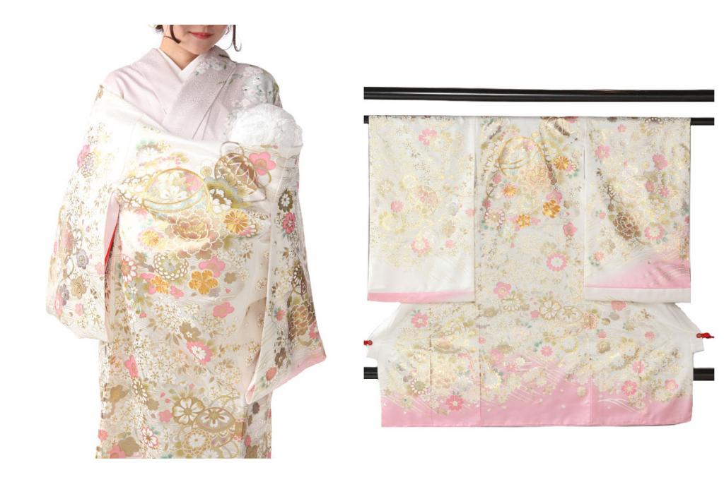 白地にピンク 鞠や桜 金彩金駒刺繍の女の子用産着