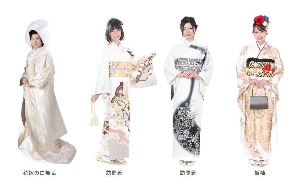 白無垢を着た女性と白い訪問着を着た女性と白い振袖を着た女性