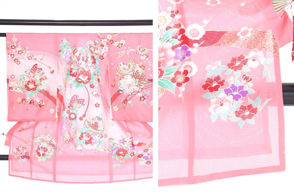 ピンク色の絽の産着