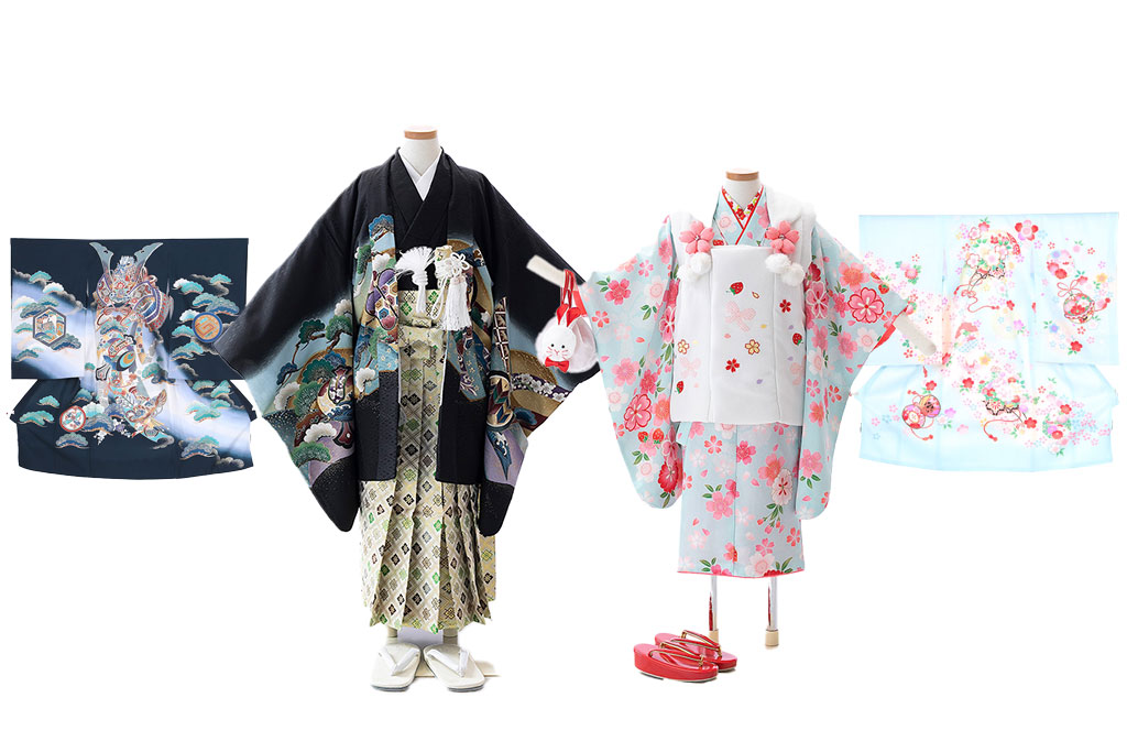 産着を七五三の着物 羽織袴 被布 五歳三歳に仕立て直す
