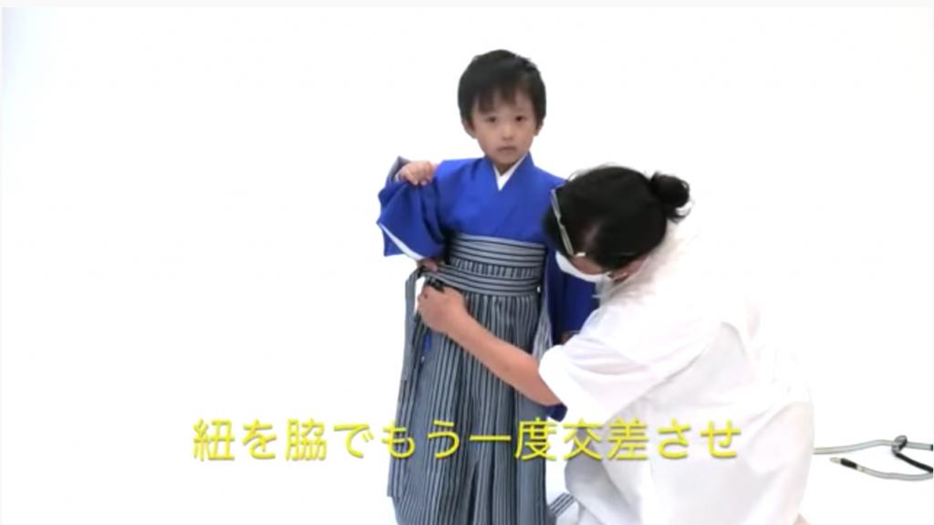七五三 五歳男の子の着付け 袴