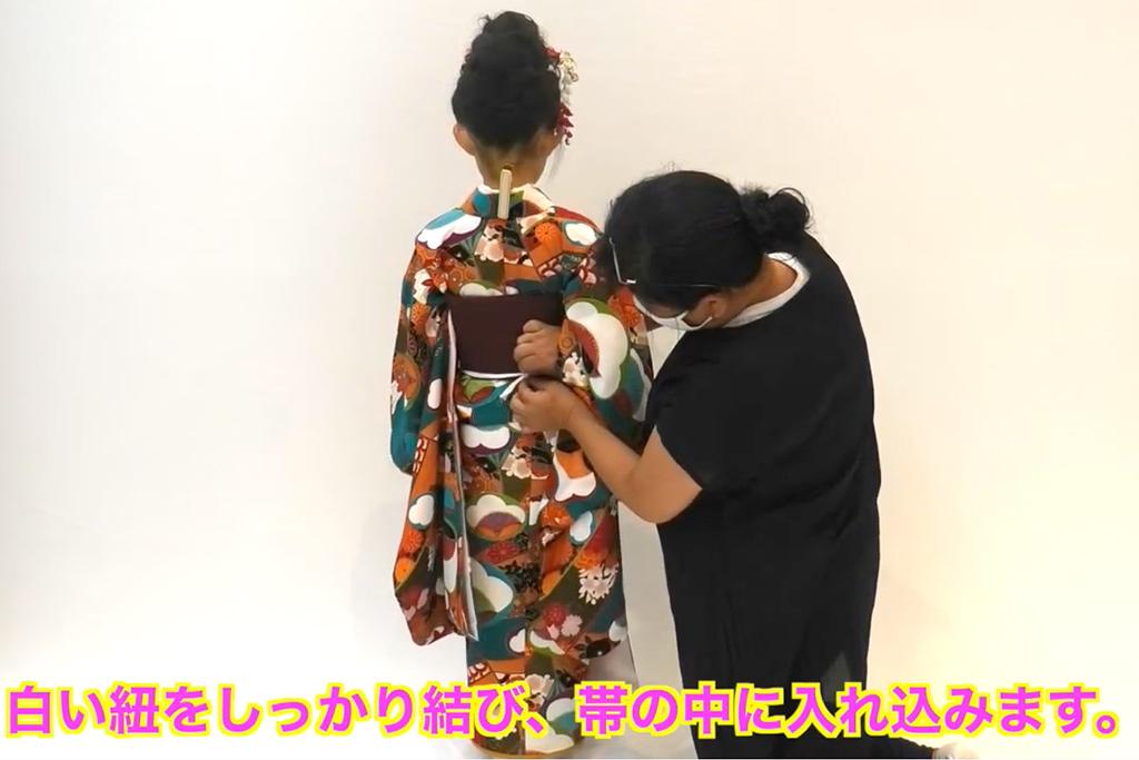 七五三 七歳女の子の着付け 作り帯