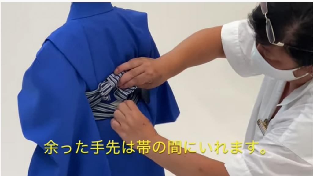七五三 五歳男の子の着付け 角帯