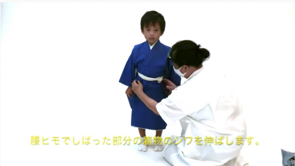 七五三 五歳男の子の着付け 着物
