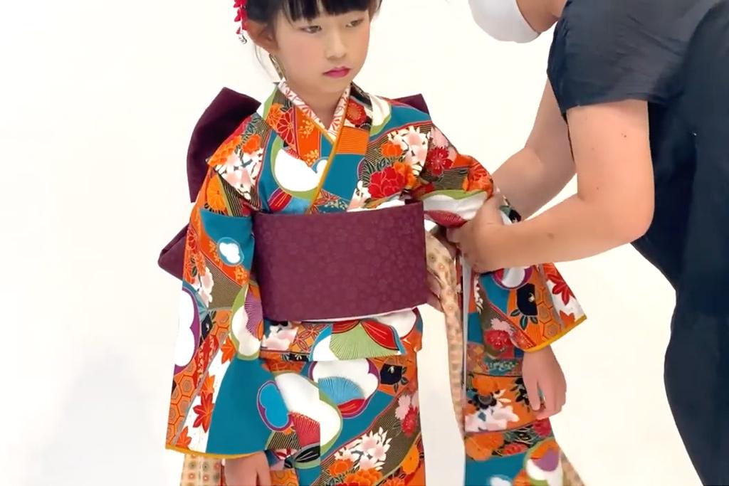 七五三 七歳女の子の着付け 帯揚げ