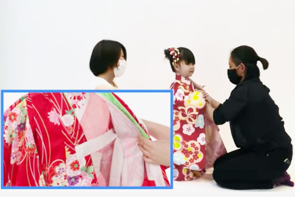 七五三 三歳女の子の着付け 着物