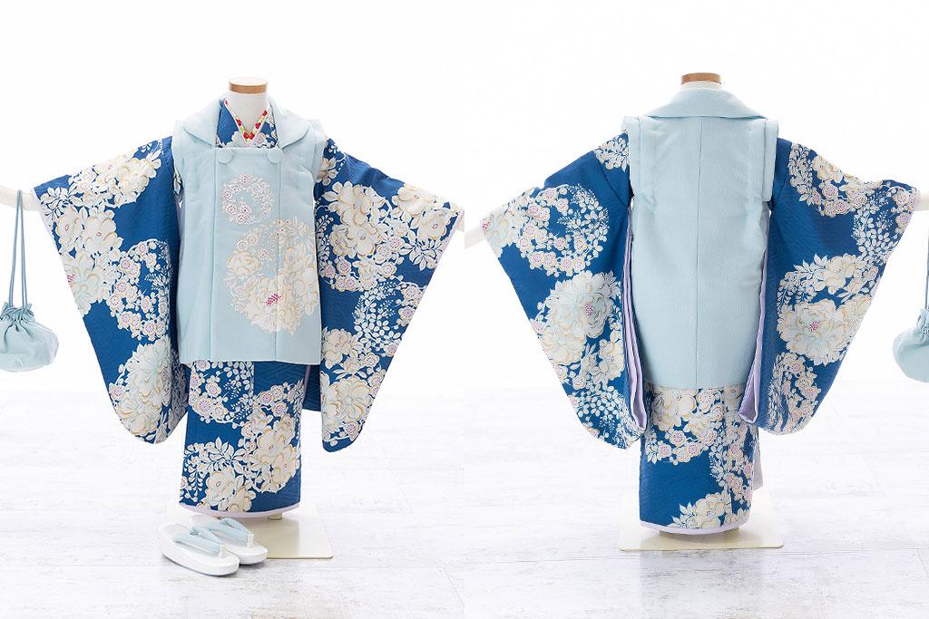 紺の着物に水色の被布の七五三三歳着物