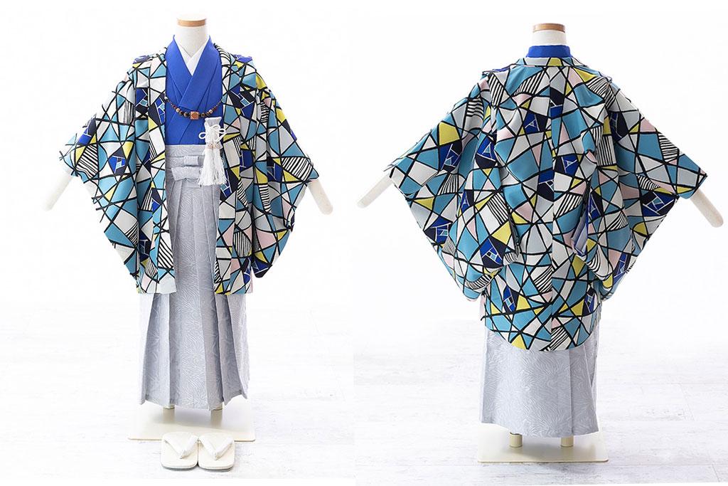 ステンドグラス柄羽織と青着物にグレー袴の七五三五歳着物