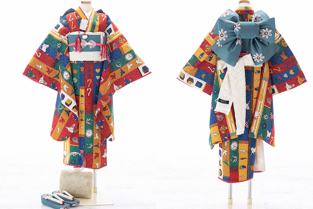 赤とオレンジにラッキー7柄着物×青碧作り帯七五三七歳着物