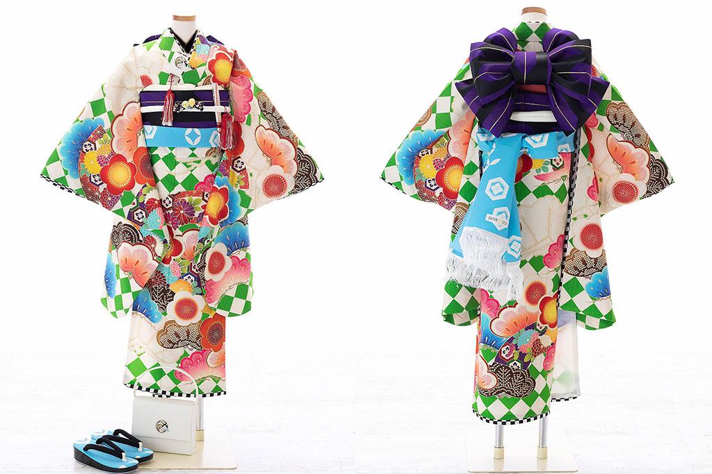 白に松と梅柄着物×紫作り帯七五三七歳着物
