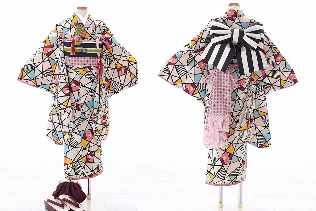 ステングラス柄着物×黒白ストライプ作り帯七五三七歳着物