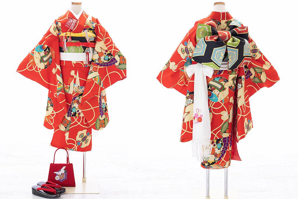 赤に折り鶴柄着物×黒作り帯七五三七歳着物