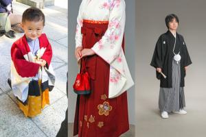 七五三の男の子の袴、卒業式の女性用の袴、成人式や結婚式の男性用の縞馬乗り袴