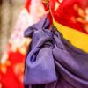 赤い着物に紫の袴と黄色い帯のコーディネート