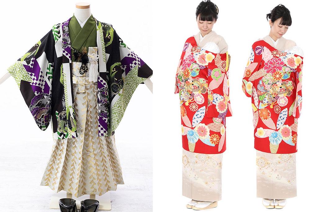 幾何学文様柄羽織 緑着物と金袴と、赤い産着を着た女性