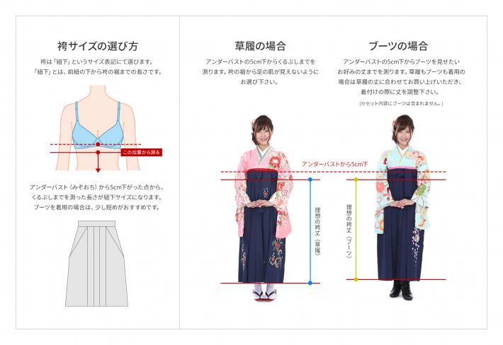 袴の紐下サイズの測り方