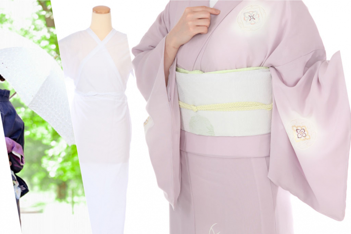 日傘と肌着と夏用の絽のピンクの訪問着