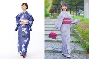 紺色の浴衣を着た女性と紫色の小紋着物を着た女性