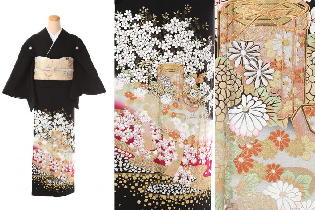 藤と桜と菊の貝桶が描かれた桂由美ブランド黒留袖