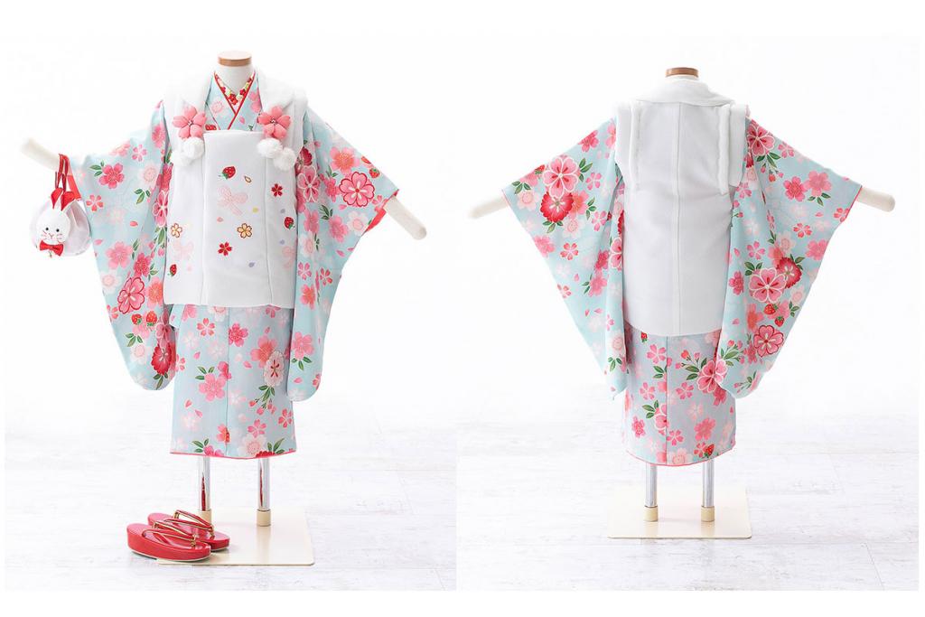 七五三(三歳)レンタル 桜柄の水色着物×白被布 W-G-3-55