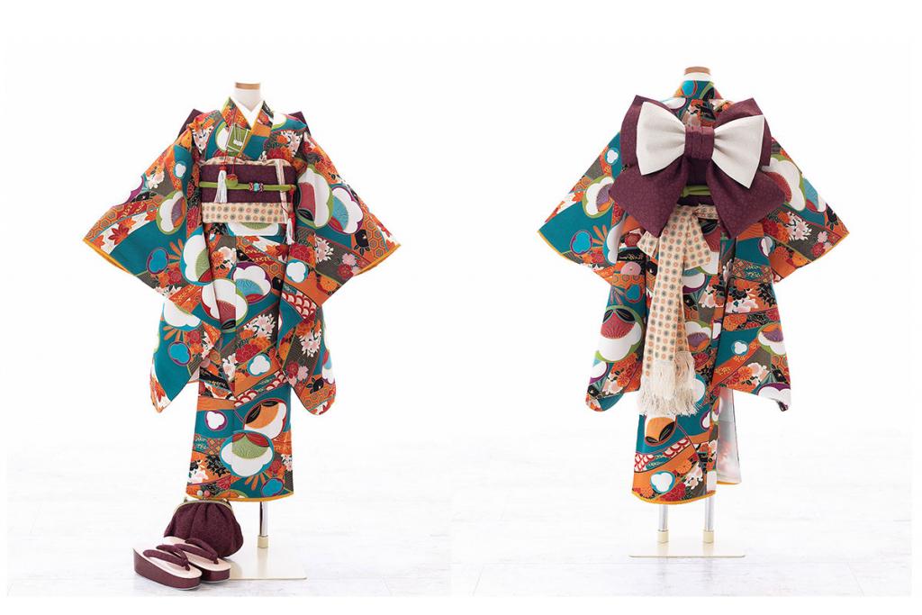 七五三(七歳)レンタル   緑に四季花々柄着物×葡萄茶色作り帯   W-G-7-36