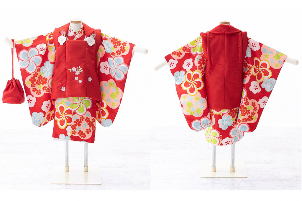 七五三(三歳)レンタル ねじり梅の赤着物×赤被布 W-G-3-52
