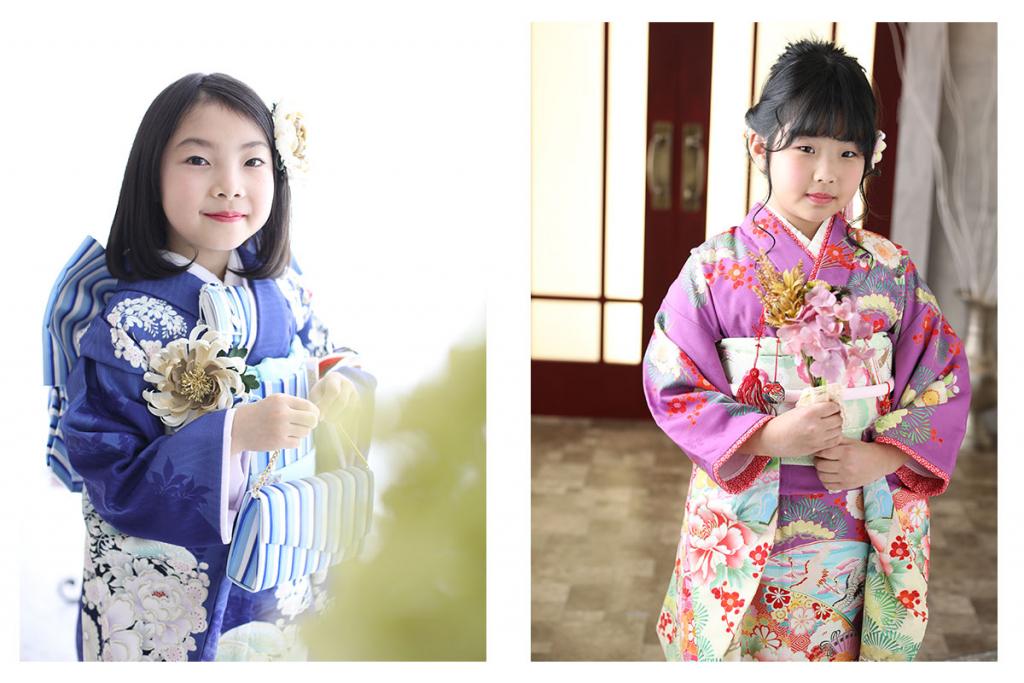 紺色の七五三着物を着た女の子と紫色の着物を着た女の子