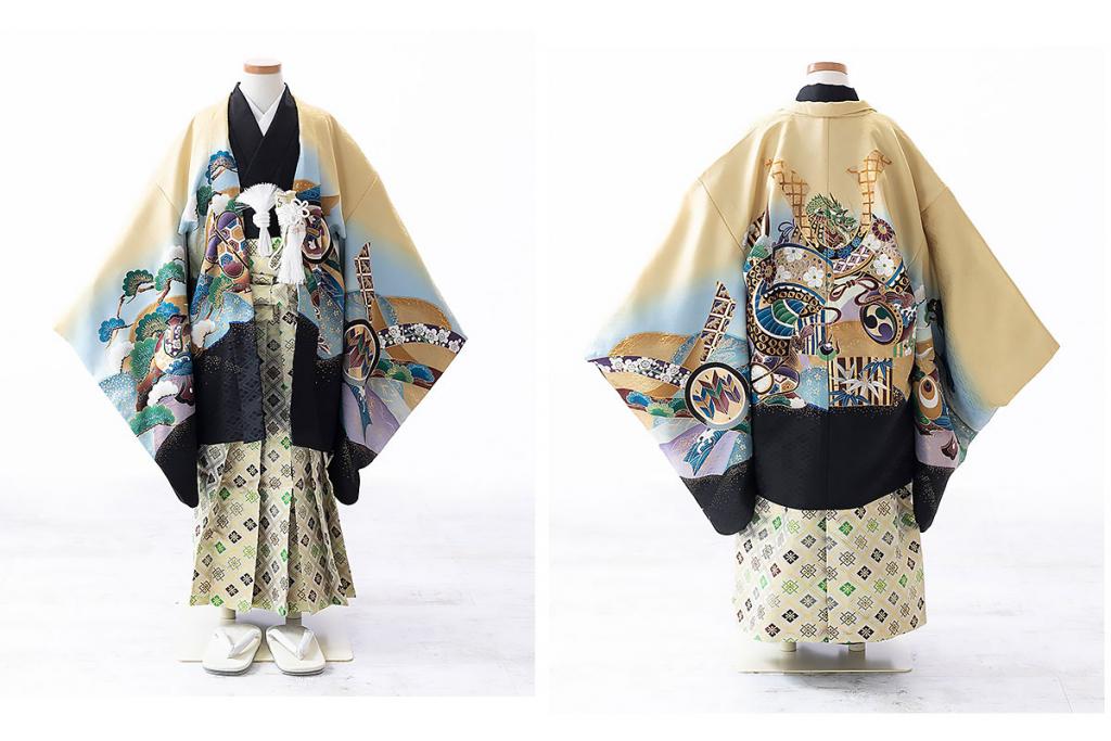 七五三(五歳)レンタル 兜柄羽織 黒着物×クリーム袴 W-B-5-61