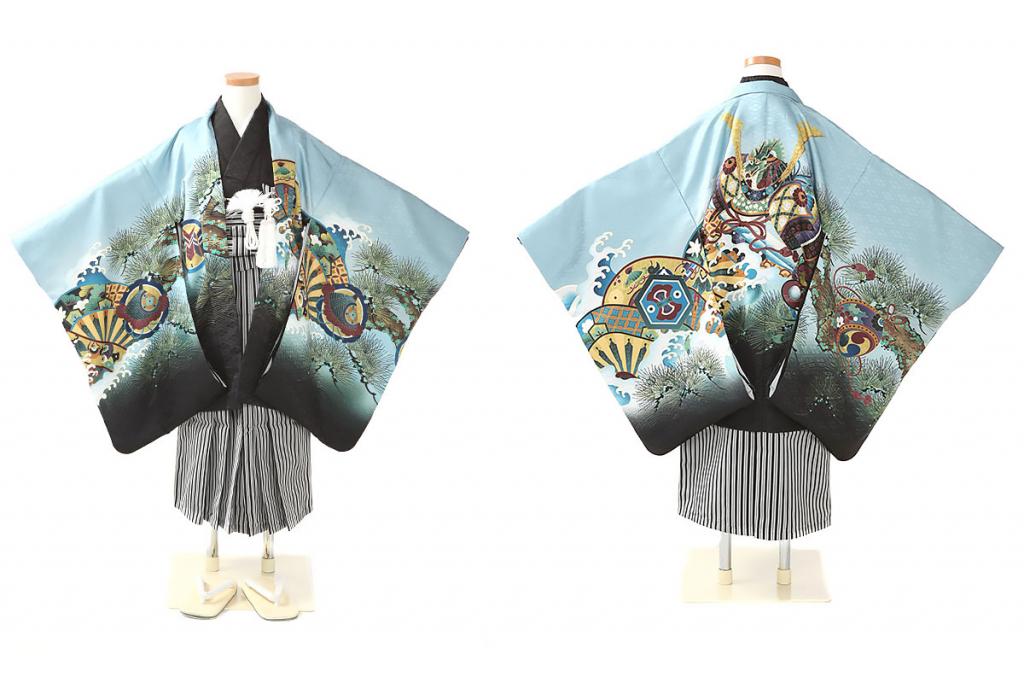 七五三(五歳)レンタル 兜に波頭柄羽織 黒着物×黒縞袴 W-B-5-75