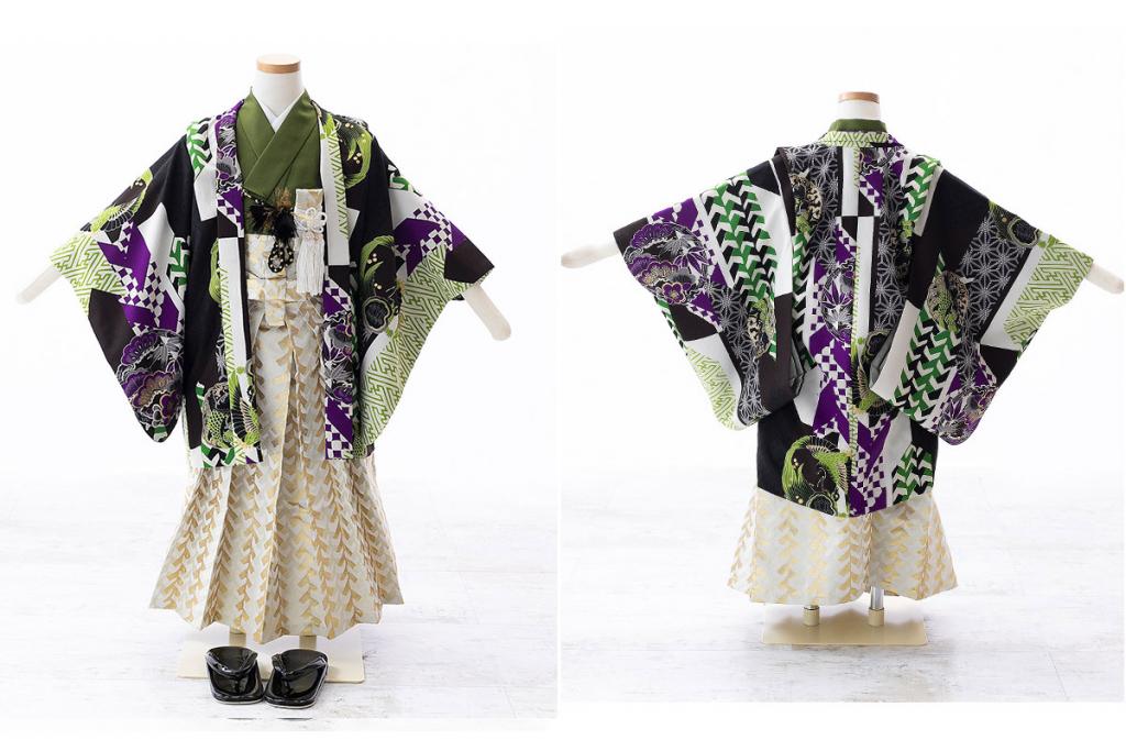 七五三(五歳)レンタル 【榛原】幾何学文様柄羽織 緑着物×金袴 W-B-5-28